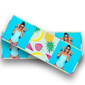 Een gepersonaliseerde fotolijst in strookfjesormaat voor een strandfeestje